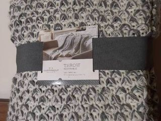 Threshold Grey Knit Reversible Throw Blanket