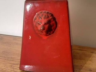 Red Ceramic Ginger Jar with lion Impression