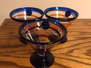 lot of 3 Nice Blue and Orange Glasses