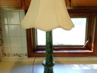 18 Inch Tall Green lamp with Marble like Design