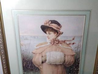 Young Woman Peering Off On Shoreline   Wall Art