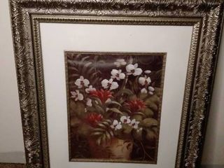 Chrome Frame White Flower Bouquet Decor