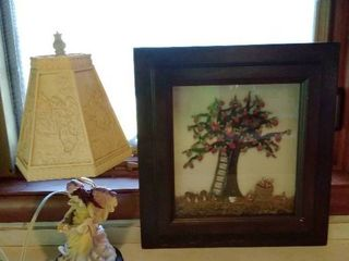 Angelic Angel Desk lamp and Framed Resin Apple Tree