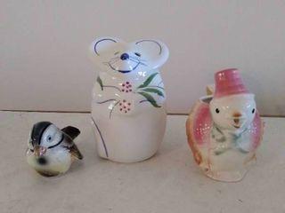 Goebal Blue Bird  White Painted Mouse Tea light  and Hen Toothpick Holder