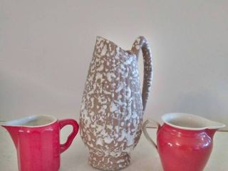 lot of 3  Hall Red Creamer Dish   Erphila and Brown and White Pitcher