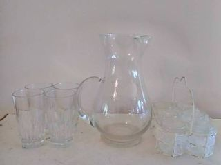 Crystal Glasses and Shot Glasses with Pitcher