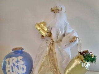 Santa Christmas Topper with Blue IRS Piggy Bank