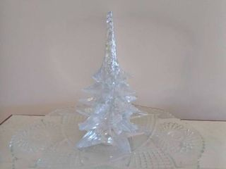 large Glass Serving Tray with Glass Christmas Tree  See Photos For Small Imperfection