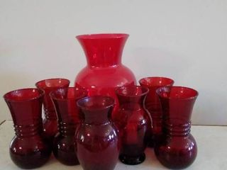 lot of Ruby Red Glassware with Pitcher