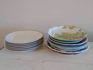 lot of 6 Warranted 18K Gold Trimed Plates with Miscellaneous Collectable Dishware