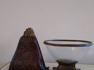 Glass Bowl with Brass Stand and lip with Wooden Wall Decor