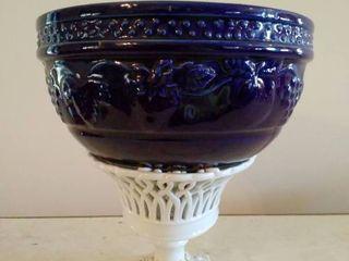 lot of 2 Ceramic Navy Blue Blue Grape Design Bowl and Ceramic Centerpiece