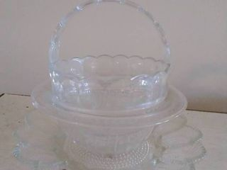 lot of 3 Glassware  Basket   Bowl and Serving Tray