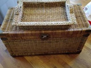 Wicker Trunk With Brass Corners Design with Birds   and Wicker Tray with Handles