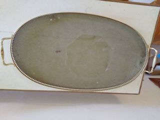 large Glass Tray With Brass Frame