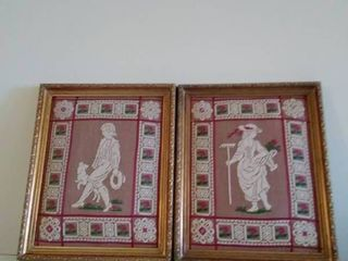 lot of 2 Crewel like Frame Art  Girl With Flowers   Boy With Best Companion