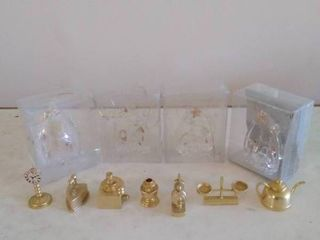Glass Collectible Ornaments with Brass Trinkets