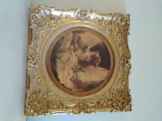 Vintage Wooden Frame with Angel Picture 26 x 26 Inches