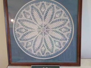 lot of 2  1 large Cloth Doily and 1 Small Framed