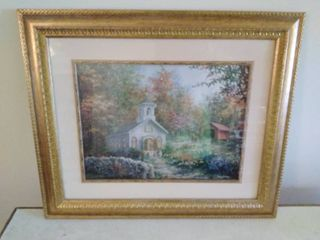 Picture of a Church and Covered Bridge by Nicky