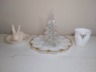 lot of Collectable Glassware  Tara Fine Bone China  Milk Glass and More
