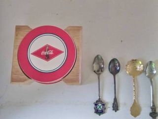 Coca Cola Coaster with Collectable Spoons