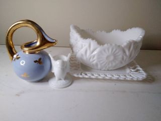 Beautiful Gilded and Blue Small Pitcher with Milk Glass Glassware