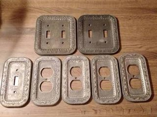 lot of 7 Metal Switch Plate Covers with Cool Design