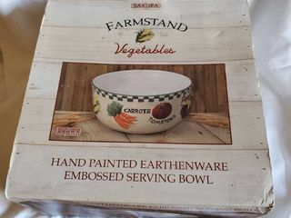 Hand Painted Earthware Vegtables Bowl