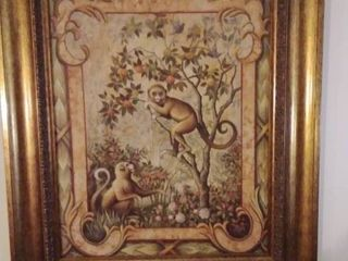 Awesome Monkey Picture in Wooden Frame 26 x 23 Inches