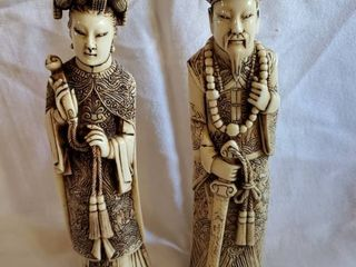 Set of Woman and Man Carved Resin Emporior and Empress