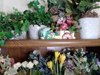 lot of Faux Flowers in Green Tote