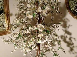 65 Inch Tall Faux White Tree in Wicker Planter