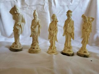 lot of 5 A Giannelli Carved Alabaster Statues Signed and Dated 1983
