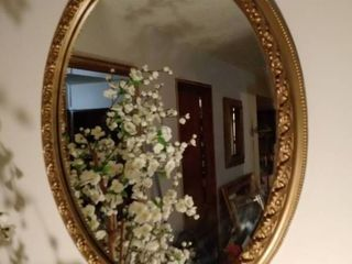 Oval Framed Mirror in Wooden Frame