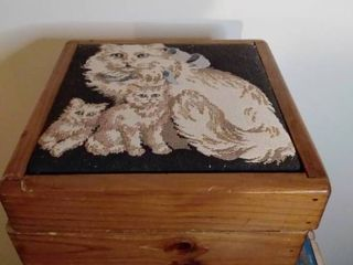 Needlepoint Wooden Cat Box