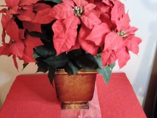 Poinsettia Floral Arrangement in Gold Two Tone Ceramic Planter