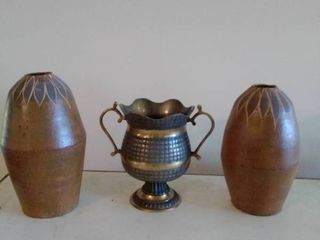lot of 2 Clay vases and 1 Metal Vase