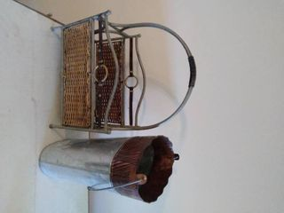 Metal Tin Pale with Magazine Rack