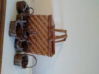 lot of Wicker Baskets  large Basket is 14 x 12 x 10 Inches