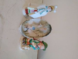 lot of 3 Japanese Figurines  1 Wall Hanging