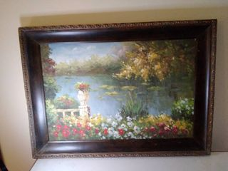 Oil Painting of Floral with Pond 44 x 31 Inches