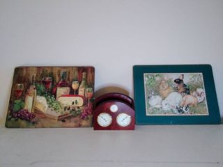 lot of Place Setting  Rabbit Design and Wine Design with Clock and Meter Napkin Holder