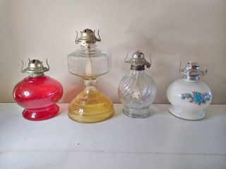 lot of 4 Oil lamps  1 With Blue Floral