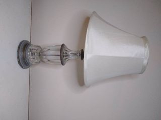 Glass lamp with Metal Frame  Tested and Working  25 Inches Tall