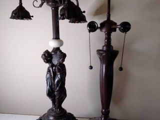 lot of 2 Tiffany Style lamps  No lamp Shades