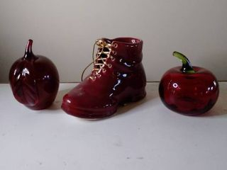 lot of 3  2 Glass Apples and Ceramic Boot