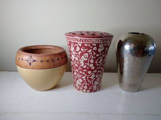 lot of 3  Ceramic Planter with Dividing holes and 2 Vases