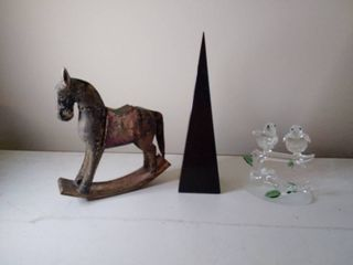 lot of 3  Heavy Black Paperweight with Glass Frogs and Rocking Horse