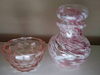 Pink and White Jar with lid and Depression Dish